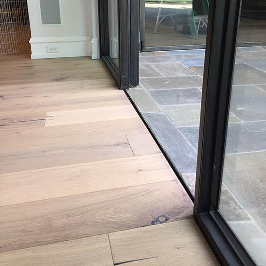 Steel Door Sills Jada - Hardwood floor patio door transition